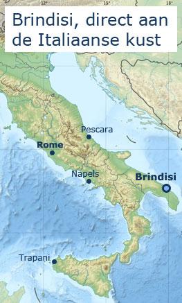 Kaart Brindisi, Puglië en Italië